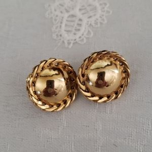 Trifari Classic Clip-On Gold Earrings